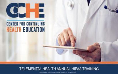 TeleMental Health Annual HIPAA Training 1.75 CME